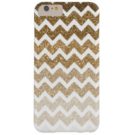 Gold Chevron Faux Glitter Ombre Barely There iPhone 6 Plus Case