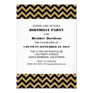 Gold Chevron Glitter Birthday Party Invite