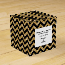 Gold Chevron Glitter Favor Box