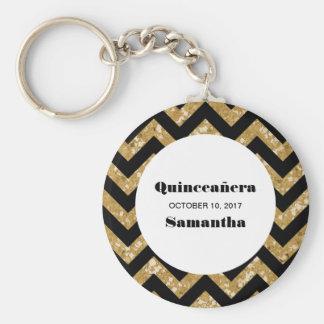 Gold Chevron Glitter Quinceañera Keychain