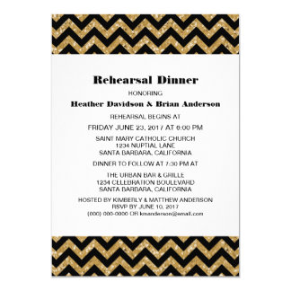 Gold Chevron Glitter Rehearsal Dinner Invite