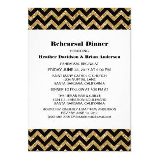 Gold Chevron Glitter Rehearsal Dinner Invite