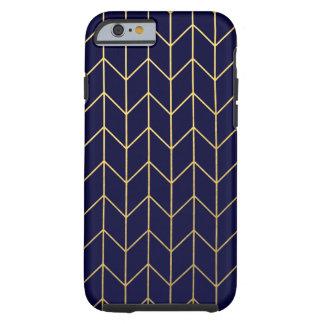 Gold Chevron Navy Blue Background Modern Chic Tough iPhone 6 Case