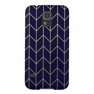Gold Chevron Navy Blue Background Modern Chic Galaxy S5 Covers