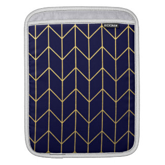 Gold Chevron Navy Blue Background Modern Chic iPad Sleeves