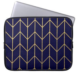 Gold Chevron Navy Blue Background Modern Chic Computer Sleeves