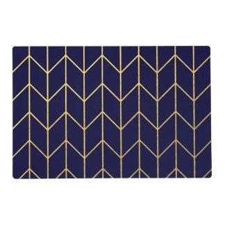 Gold Chevron Navy Blue Background Modern Chic Laminated Place Mat