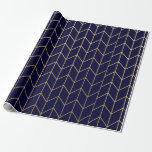 Gold Chevron Navy Blue Background Modern Chic Gift Wrapping Paper