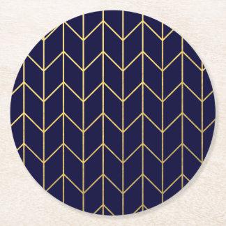 Gold Chevron Navy Blue Background Modern Chic Round Paper Coaster