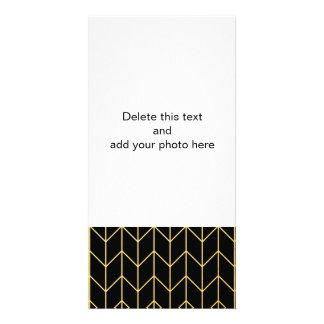 Gold Chevron on Black Background Modern Chic Card