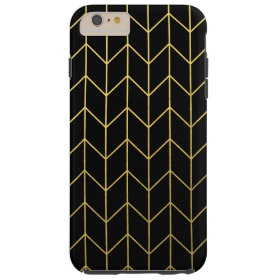 Gold Chevron on Black Background Modern Chic Tough iPhone 6 Plus Case