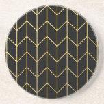 Gold Chevron on Black Background Modern Chic Coaster
