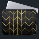 "Gold Chevron on Black Background Modern Chic Computer Sleeve<br><div class=""desc"">Contemporary, gold foil chevron pattern printed on a black solid color background. GraphicsByMimi &#169;. (Gold foil is a printed photo effect). Use to create your own one of a kind gift for you or your friends and family by personalizing it with your name, monogram, text or photo or leave as....</div>"