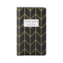 Gold Chevron on Black Background Modern Chic Large Moleskine Notebook