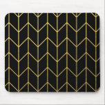"Gold Chevron on Black Background Modern Chic Mouse Pad<br><div class=""desc"">Contemporary, gold foil chevron pattern printed on a black solid color background. GraphicsByMimi &#169;. (Gold foil is a printed photo effect). Use to create your own one of a kind gift for you or your friends and family by personalizing it with your name, monogram, text or photo or leave as....</div>"