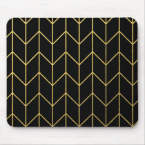 Gold Chevron on Black Background Modern Chic Mouse Pad