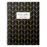 Gold Chevron on Black Background Modern Chic Spiral Notebooks