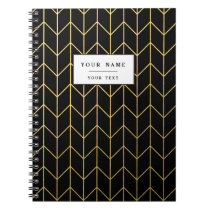 Gold Chevron on Black Background Modern Chic Notebook