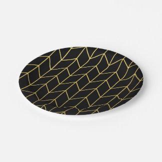Gold Chevron on Black Background Modern Chic Paper Plate