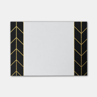 Gold Chevron on Black Background Modern Chic Post-it® Notes