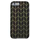 Gold Chevron on Black Background Modern Chic Tough iPhone 6 Case