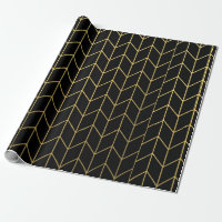 Gold Chevron on Black Background Modern Chic Wrapping Paper
