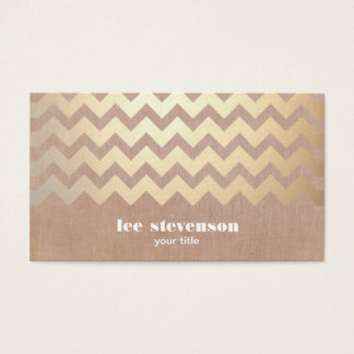 Gold Chevron Pattern and Beige Linen Look Hip Business Card