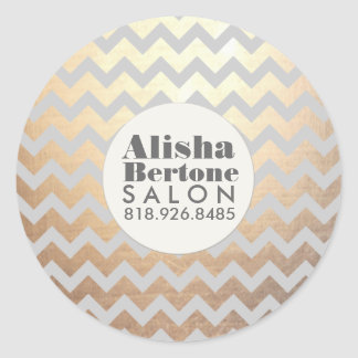 Gold Chevron Pattern Gray Personalized Classic Round Sticker
