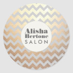 Gold Chevron Pattern Gray Personalized Sticker
