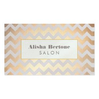 Gold Chevron Pattern Hair Salon Gray and Blue Business Card