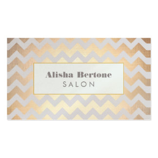 Gold Chevron Pattern Hair Salon Gray and Blue Double-Sided Standard Business Cards (Pack Of 100)