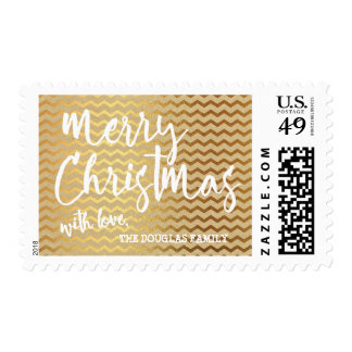 Gold Chevron Pattern Merry Christmas | Holiday Postage