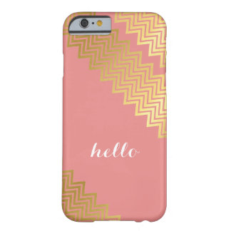 GOLD CHEVRON PATTERN modern trendy cute coral Barely There iPhone 6 Case