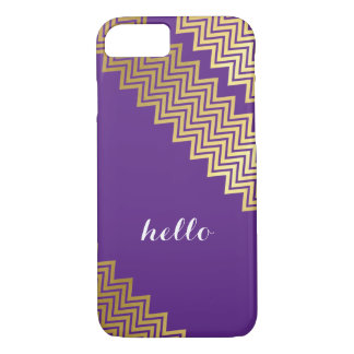 GOLD CHEVRON PATTERN modern trendy cute purple iPhone 8/7 Case