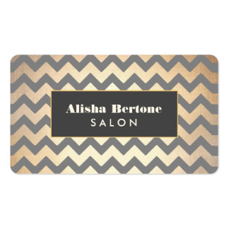 Gold Chevron Pattern Salon & Spa Double-Sided Standard Business Cards (Pack Of 100)