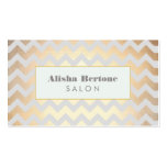 Gold Chevron Pattern Salon & Spa Gray and Blue Business Card