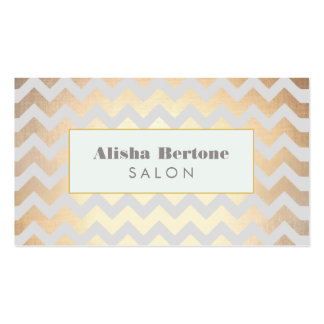 Gold Chevron Pattern Salon & Spa Gray and Blue Double-Sided Standard Business Cards (Pack Of 100)