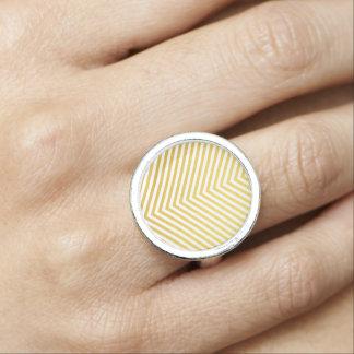 Gold chevron photo ring
