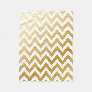 Gold Chevron Stripes Pattern Fleece Blanket