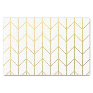 "Gold Chevron White Background Modern Chic 10"" X 15"" Tissue Paper"