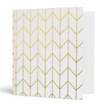 Gold Chevron White Background Modern Chic Binder