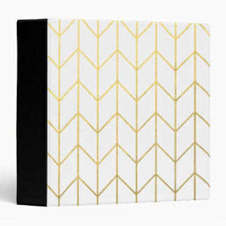 Gold Chevron White Background Modern Chic Vinyl Binders