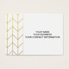 Gold Chevron White Background Modern Chic Business Card at Zazzle