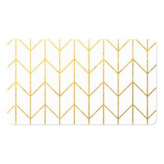 Gold Chevron White Background Modern Chic Business Card