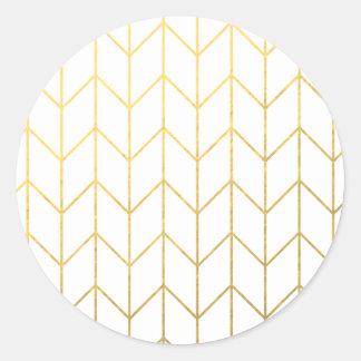 Gold Chevron White Background Modern Chic Classic Round Sticker