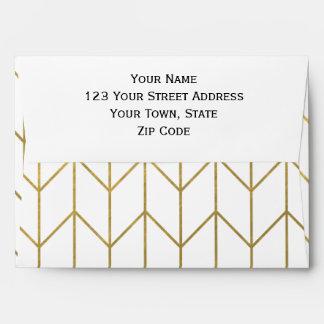 Gold Chevron White Background Modern Chic Envelope