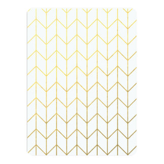 Gold Chevron White Background Modern Chic Personalized Announcements