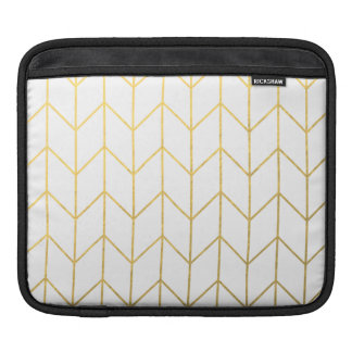 Gold Chevron White Background Modern Chic Sleeves For iPads