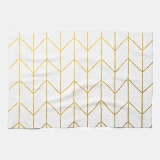 Gold Chevron White Background Modern Chic Kitchen Towel