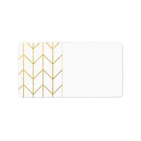 Gold Chevron White Background Modern Chic Personalized Address Label